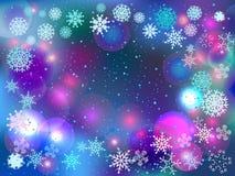 Fondo di inverno con le luci ed i fiocchi di neve Fotografie Stock Libere da Diritti