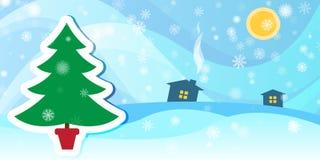 Fondo di inverno con un albero e una neve di abete Fotografia Stock