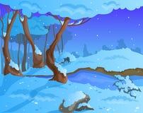 Fondo di inverno del fumetto per un'arte del gioco Fotografia Stock Libera da Diritti