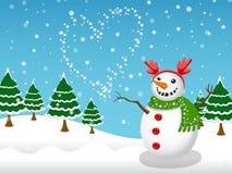 Fondo di inverno del pupazzo di neve e di vettore della neve Fotografie Stock