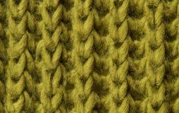 Fondo di lana di struttura, tessuto tricottato della lana, verde Fotografia Stock
