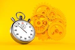 Fondo di lavoro di squadra con il cronometro illustrazione di stock