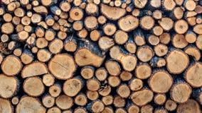 Fondo di legna da ardere raccolto per la stagione invernale per il riscaldamento una casa o della sauna fotografie stock libere da diritti