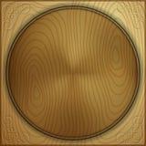 Fondo di legno astratto di vettore con il cerchio scolpito Fotografie Stock