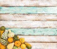 Fondo di legno Autumn Harvest Thanksgiving della zucca Fotografie Stock