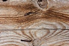 Fondo di legno di Brown con i chiodi Fotografia Stock Libera da Diritti