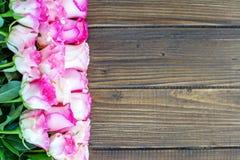 Fondo di legno con i fiori rosa Posto per l'iscrizione Fotografia Stock
