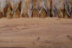 Fondo di legno con il bordo della pelliccia come struttura e fondo per comporre fotografie stock libere da diritti