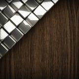 Fondo di legno con l'elemento del metallo Immagini Stock Libere da Diritti
