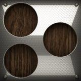 Fondo di legno con l'elemento del metallo Fotografia Stock Libera da Diritti