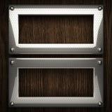 Fondo di legno con l'elemento del metallo Fotografie Stock Libere da Diritti