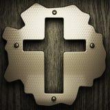 Fondo di legno con l'elemento del metallo Immagini Stock