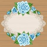 Fondo di legno con le rose Fotografia Stock
