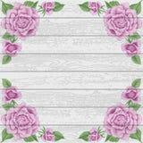 Fondo di legno d'annata con le rose illustrazione di stock