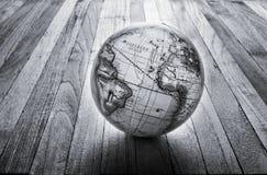 Fondo di legno del globo del mondo Fotografie Stock