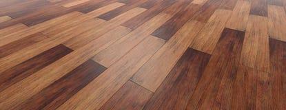 Fondo di legno del pavimento, vista di prospettiva da sopra, insegna illustrazione 3D fotografie stock libere da diritti