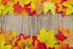 Fondo di legno del tempo e di Autumn Leaves Fotografia Stock Libera da Diritti