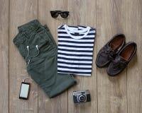 Fondo di legno dell'abbigliamento casual Fotografia Stock