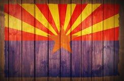 Fondo di legno della bandiera dell'Arizona Fotografie Stock Libere da Diritti