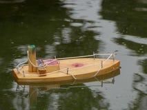 Fondo di legno della barca a vela di infanzia di concetto Fotografia Stock Libera da Diritti