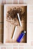 Fondo di legno della sigaretta Immagini Stock