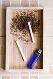Fondo di legno della sigaretta Fotografia Stock Libera da Diritti