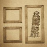 Fondo di legno della struttura di lerciume, struttura di carta d'annata Fotografie Stock