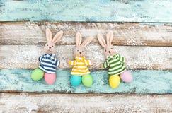 Fondo di legno delle uova dei coniglietti della decorazione di Pasqua Immagine Stock