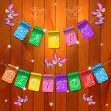 Fondo di legno di compleanno felice di festa con le bandiere e le farfalle Posto per testo Illustrazione di festa Immagine Stock Libera da Diritti
