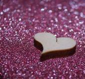 fondo di legno di scintillio del cuore Fotografia Stock Libera da Diritti