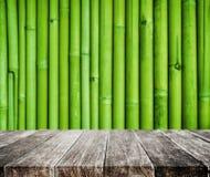 Fondo di legno di struttura del bambù e della piattaforma Fotografia Stock