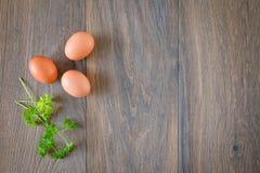 Fondo di legno di vista superiore della composizione nelle uova di Brown Immagini Stock