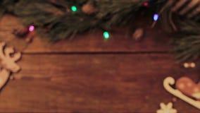 Fondo di legno di Natale festivo video d archivio