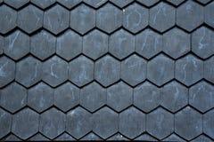 Fondo di legno nero di struttura delle mattonelle di tetto Fotografia Stock Libera da Diritti