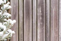 Fondo di legno stagionato di inverno del recinto Fotografia Stock