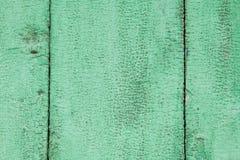 Fondo di legno stagionato verde con le crepe Immagine Stock