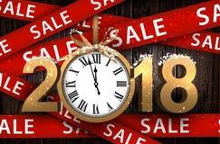Fondo di legno 2018 di vendita con l'orologio Immagini Stock
