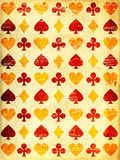 Fondo di lerciume con il simbolo di carta delle carte da gioco e di struttura Immagine Stock Libera da Diritti