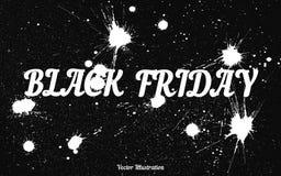 Fondo di lerciume con una goccia macchiata di inchiostro per Black Friday Fotografie Stock Libere da Diritti