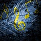 Fondo di lerciume della nota di musica strutturato Immagini Stock
