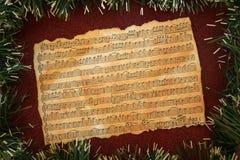 Fondo di lerciume di musica di Natale Immagine Stock
