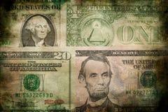 Fondo di lerciume di struttura delle banconote dei soldi del dollaro di U.S.A. Fotografia Stock