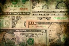 Fondo di lerciume di struttura delle banconote dei soldi del dollaro di U.S.A. Fotografie Stock