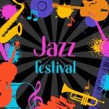 Fondo di lerciume di festival di jazz con gli strumenti musicali illustrazione vettoriale
