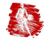 Fondo di lerciume di vettore con il giocatore di pallacanestro illustrazione vettoriale