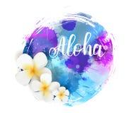 Fondo di lerciume watercolored estate con il fiore Immagine Stock Libera da Diritti