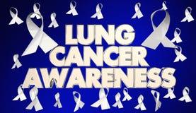 Fondo di Lung Cancer Awareness Ribbons Disease - allevatore 3d Illustratio illustrazione di stock