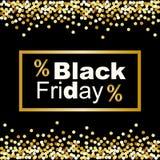 Fondo di lusso di Black Friday con la struttura dei coriandoli di scintillio dell'oro per la vostra decorazione Illustrazione di Stock