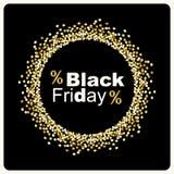 Fondo di lusso di Black Friday con la struttura dei coriandoli di scintillio dell'oro per la vostra decorazione Immagini Stock Libere da Diritti