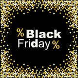 Fondo di lusso di Black Friday con la struttura dei coriandoli di scintillio dell'oro per la vostra decorazione Fotografia Stock Libera da Diritti